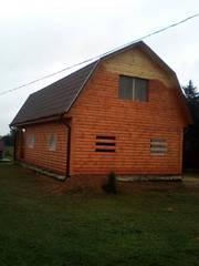 Дом сруб Владимир 9 × 7 с верандой,  доставка-установка Копыль