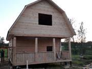 Дом сруб из бруса Алексей 6 × 6 с террасой,  установка в Заславле